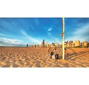 Chicago Beach Sand Bicycle Skyscrapers  HD Wallpaper