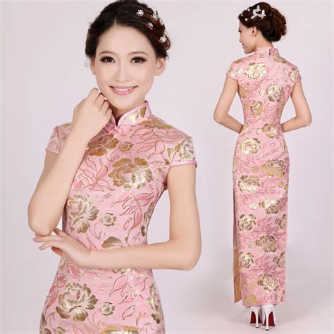 Id Floral Cheongsam Lace Dress silk brocade fabric pink golden brown colour 44 quot bro192 6