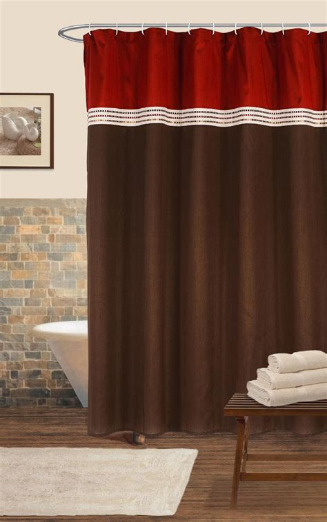 shower curtains red lush decor terra shower curtain red chocolate