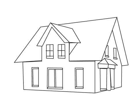 House Drawing Colouring Pages sketch template
