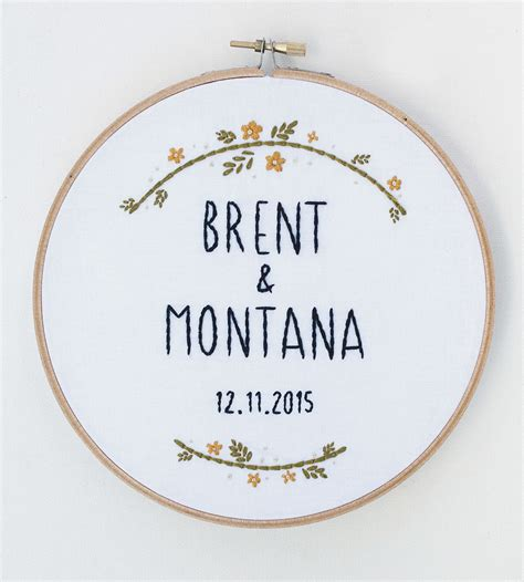 Custom Kitchen Pantry Designs Custom Wedding Name Amp Date Embroidered Hoop Art Home