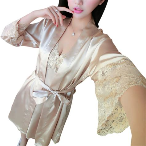 2pcs s sleepwear set silk satin lace robe babydoll nightgown nightdress ebay