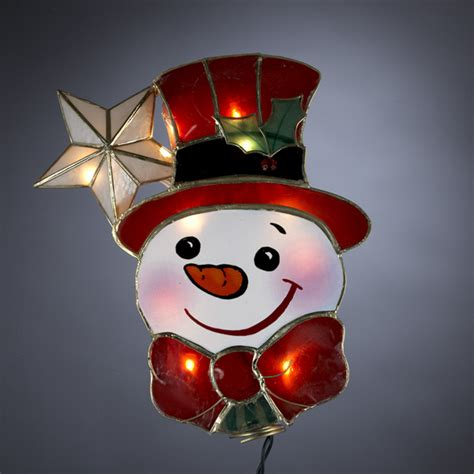 9 quot lighted capiz happy snowman with star christmas tree