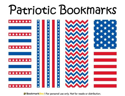 printable bookmarks pdf free printable patriotic bookmarks download the pdf