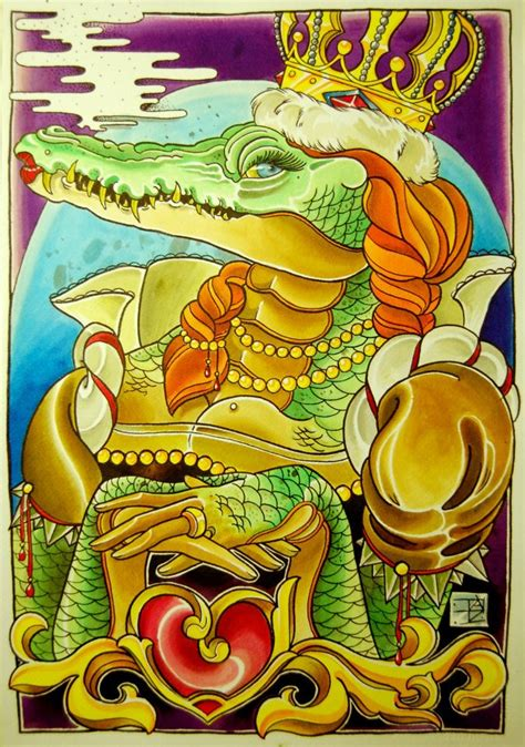 tattoo flash crocodile queen by stilbruch tattoo on deviantart