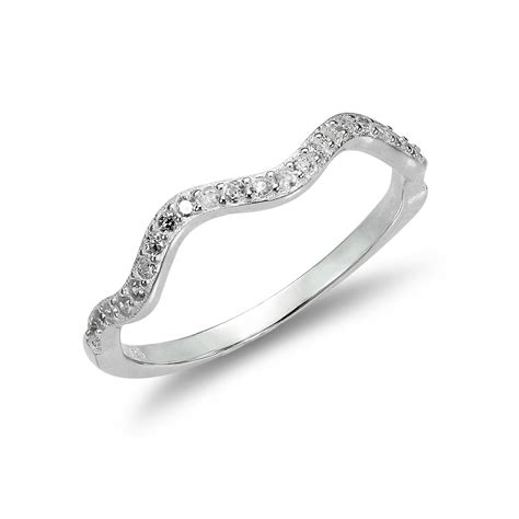 925 sterling silver 2mm wave ring with clear cz crystals