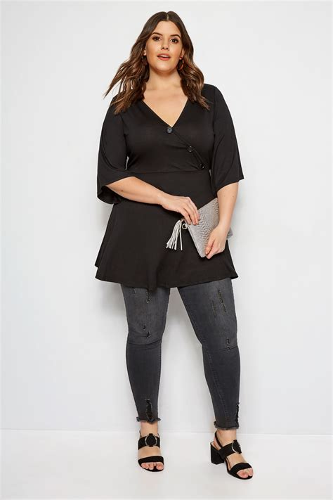 limited out 3 days in row plus size limited collection black button wrap top