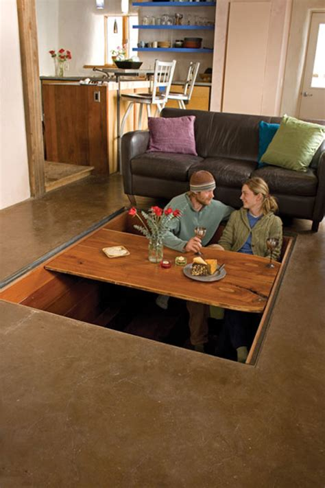 floor dining table secret sunken dining room table stashvault