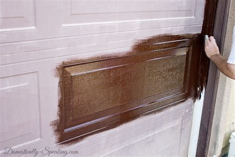 Garage Door Stain Diy Garage Door Makeover With Stain Domestically Speaking