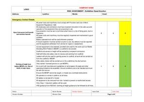 exhibition stand risk assessment example to download