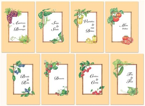 free printable cookbook templates 8 best images of free printable recipe divider templates