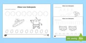 Aliens Underpants Worksheets pencil sheets to support teaching on aliens