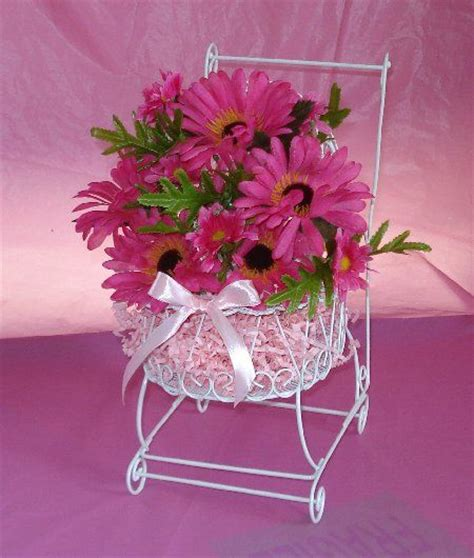 pink flower centerpieces for baby shower baby shower