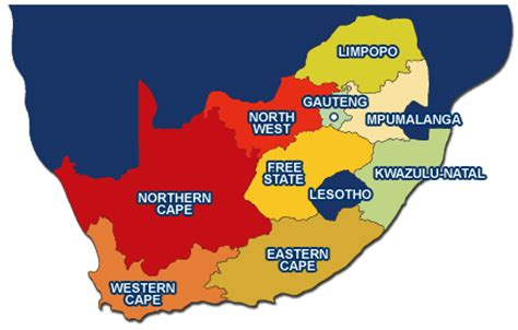 regional map of south africa region and location south africa