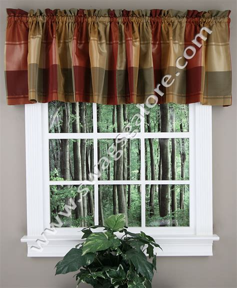 Blue Valance Curtains Plaid Tailored Valance Blue Green United Curtain View All Valances