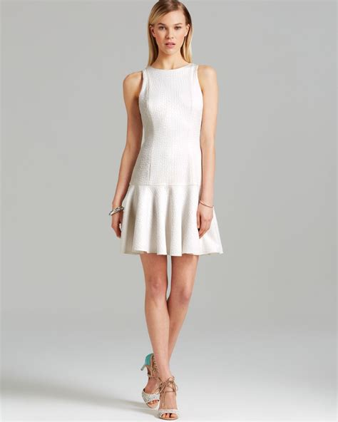 White Dress Pantai S lyst godfrey dress gibson croc embossed drop waist flounce in white