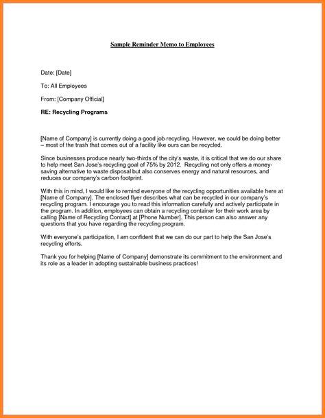 how to write a memo to employees sle memo letter to employee letters free sle letters