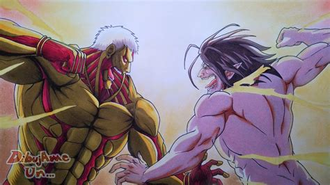 Dibujando a EREN TITAN VS TITAN ACORAZADO. Drawing EREN vs ... Attack On Titan Eren Titan Vs Armored Titan