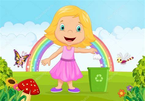 imagenes de niños botando basura ni 241 a de dibujos animados tirar basura en la papelera en la