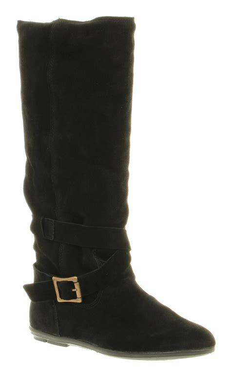 womens office jupiter knee high buckle black suede flat