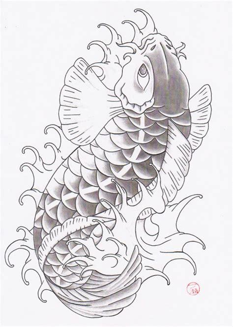 sket tattoo ikan koi black and grey fish drawing of koi tattoo art