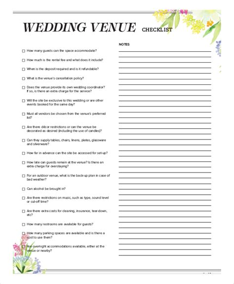 Wedding Location Checklist sle wedding checklist 6 documents in word pdf