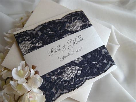 Navy And Lace Wedding Invitations rustic wedding invitation lace wedding invitations