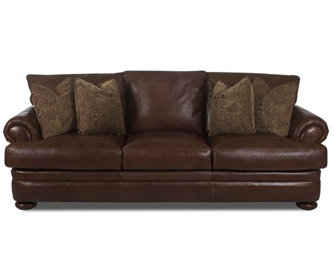 klaussner montezuma leather sofa with rolled arms sheely