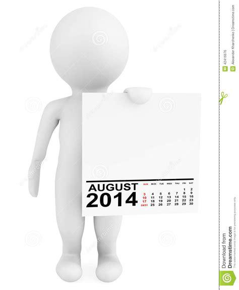 Calendar Holdings Character Holding Calendar August 2014 Stock Illustration