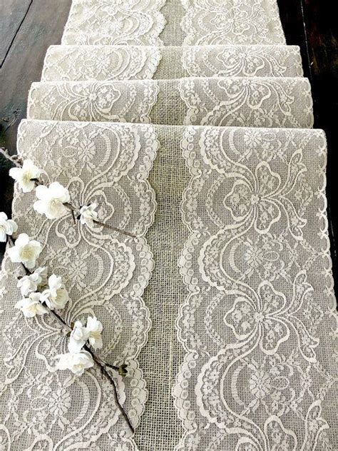 Handmade Usa - wedding table runner with beige lace rustic chic wedding