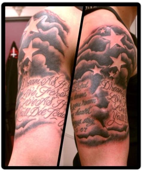 star tattoo sleeve designs 14 half sleeve clouds tattoos