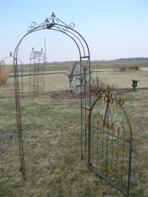 Garden Arbor With Gate Wrought Iron Wrought Iron Lawless Arbor Gate