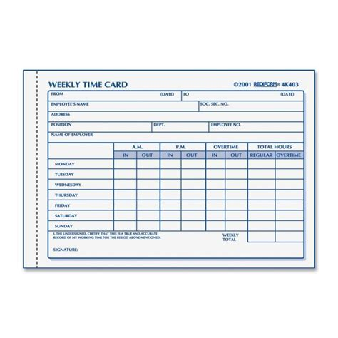 employee weekly time card template weekly employee time card rediform 4k403 red4k403 forms