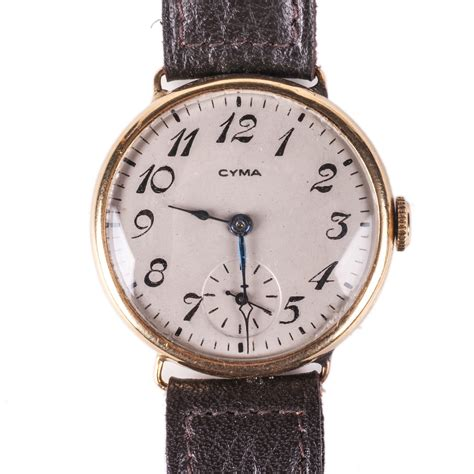 lot 0077 quot cyma quot 18k gold s wristwatch starting price