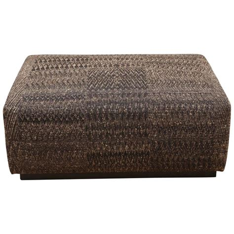 fabric covered ottoman ottoman covered with handwoven indian fabric at 1stdibs