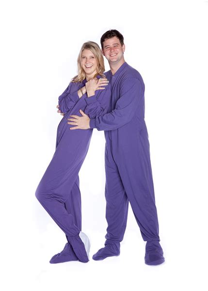 knitted onesie for adults jersey knit footed pajamas in purple big