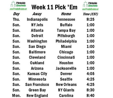 printable schedule week 11 nfl schedules small format autos post