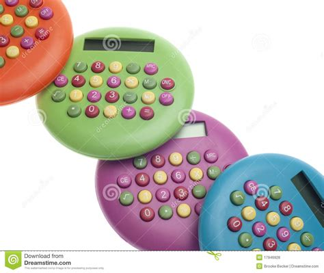 imagenes de calculadoras calculadoras coloridas vibrantes fotos de stock royalty