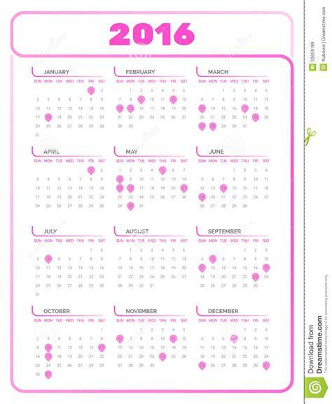 printable calendar 2016 pink calendar 2016 stock vector image of element business