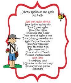 johnny appleseed apple printable preschool printables