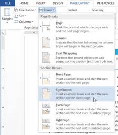 how do you insert a next page section in word 2010