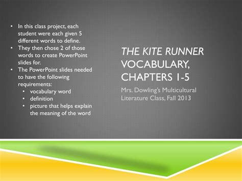 kite runner chapter 11 themes ppt the kite runner vocabulary chapters 1 5 powerpoint