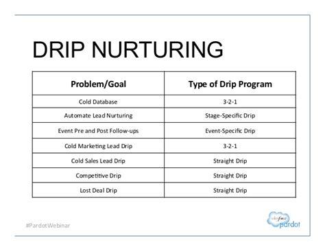 Pardotwebinar Drip Nurturing Problem Goal Lead Nurturing Plan Template