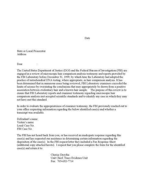 sample letter presecutors fbi