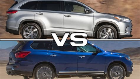 toyota highlander vs nissan pathfinder 2017 toyota highlander vs 2017 nissan pathfinder youtube