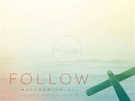 Pick Up Cross and Follow Me Ministry PowerPoint Template