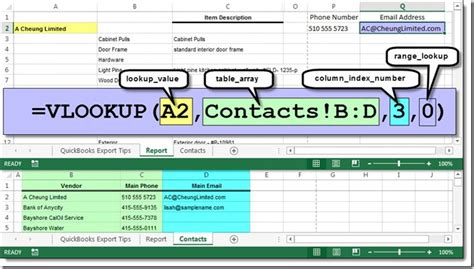 Excel Lookup Cell Address Use Excel Vlookup To Merge Quickbooks Reports Accountex