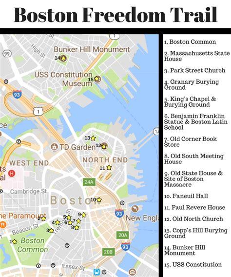 freedom trail boston map the boston freedom trail where to next budget travel