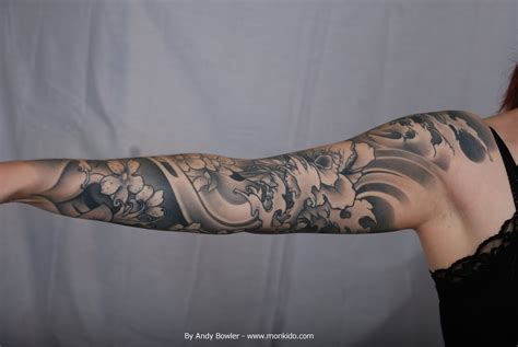 japanese sleeve tattoo designs black and grey monki do studio custom japanese sleeve by andy