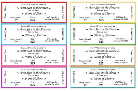 ticket template printable event ticket templates make your own printable tickets